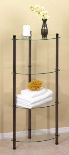 Corner 4 Shelf by Creative Bath. $89.20. Handsome designMetal, glass14 x 14 x 42 inches. When space is limited, making the most of it is important for your comfort and convenience. But it can be hard to find the right pieces that will fit with a room or décor. We?ve solved that problem for you with this attractive four shelf corner unit.  It?s basic simplicity is as handsome as it is handy, providing four, quarter circle shelves of glass embraced by a versatile met...