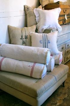 Just Practicing Random Acts of Kindness: Full Bloom Cottage Bed Pillows, Cushions, Burlap Pillows, Grain Sack, Linens And Lace, Soft Furnishings, Linen Fabric, Vintage Decor, Textiles