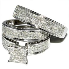 His and Her Trio Wedding Rings Set 1ct w Diamonds 10K White gold Princess Cut style Round Pave set