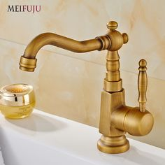 Deck Mounted Single Handle Hole Bathroom Sink Mixer Faucet Basin Tap Antique Brass Hot and Cold Water tap 360 Degree Rotating bathroom DIY <3 AliExpress Affiliate's Pin. View the item in details by clicking the image