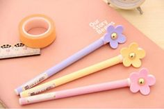 Flower Gel Pen is adorned with a beautiful flower that stands out on this tall beauty. Purchase either pink, purple, or cream, or simply purchase a bouquet of these pens for your pencil case or deskto