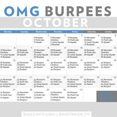 Burpees October Challenge! Amazing workout challenge this month! Are you IN? #octoberchallenge #burpeeschallenge #healthylifestyle
