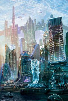 The City of the Future | #city Future looks good for the digial artist. #digital #concptart #art #cyberpunk #arteverywhere #future #citylife #MaxBrhon Cyberpunk City, Ville Cyberpunk, Cyberpunk Kunst, Cyberpunk Aesthetic, Futuristic City, City Aesthetic, Futuristic Architecture, Fantasy Art Landscapes, Fantasy Landscape