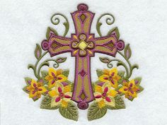 Easter Religious Cross with Flowers Machine Embroidery - Wonderful design of machine embroidery with religious theme, which depicts an elegant cross, framed by flowers and leaves, suitable for a Bible cover or wall decoration during the Easter holidays, when is celebrated also the arrival of spring. The religious Easter celebrations are marked by passages from the Bible, which focus on Jesus' words and teachings, bringing faith, hope, and joy. The Cross reminds us about the crucifixion and…