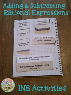 Adding and Subtracting Rational Expressions - interactive notebook activities! Also includes scaffolded notes with teacher answer keys - great for Algebra I students using math journals. #rationalexpressions #inb #algebra