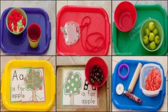 "Apple Tot / Preschool Trays - I love tot / preschool trays. They help keep your tot or preschooler busy while your doing housework or in my case working with an older child. On the trays below: Apple puzzle, lacing and printables from Confessions of a Homeschooler A – apple writing page ""apple"" sorting (red, yellow, and green pom poms) Apple Counting Cards Apple Pie Scented Playdough Apple transferring with small plastic apples and tongs"