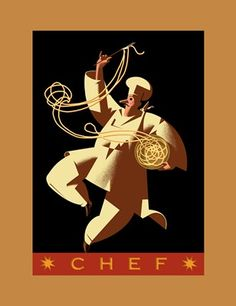 illustration of chef, cooking, art deco,