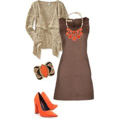 """Orange and Brown Women's Outfit"" by jessicaschmidt on Polyvore"