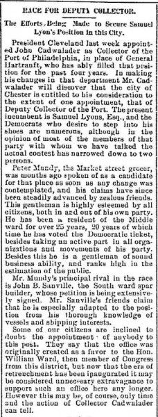 Transcription: News article re John Lambert Cadwalader John Lambert Cadwalader, Collector of the Port of Philadelphia: Chester Times article, Race for Deputy Collector, Chester, Pennsylvania, About August, 1885, Col. 3 http://www.emptynestancestry.com/transcription-news-article-re-john-lambert-cadwalader/
