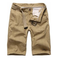 Summer Cotton Breathable Solid Color Knee Length Casual Shorts ($26) ❤ liked on Polyvore featuring men's fashion, men's clothing, men's shorts, shorts, mens knee length shorts, mens cotton shorts, mens sports shorts, mens sport shorts and mens summer shorts