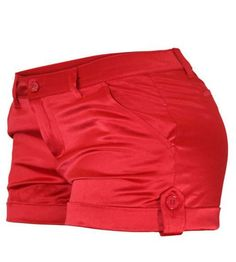 Cielo Jeans Red Satin Shorts