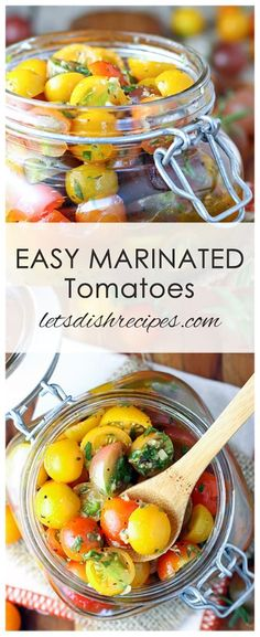 Easy Marinated Cherry Tomatoes Recipe: Cherry Tomato Halves Are Marinated In Herbs, Garlic And Olive Oil For A Healthy, Delicious Appetizer Or Side Dish. These Tomatoes Are Also Great In Salads, Tossed With Pasta, Or As A Topping For Grilled Chicken. Marinated Cherry Tomatoes Recipe, Cherry Tomato Recipes, Garden Tomato Recipes, Canning Cherry Tomatoes, Cherry Tomato Salad, Vegetable Dishes, Vegetable Recipes, Vegetarian Recipes, Healthy Recipes