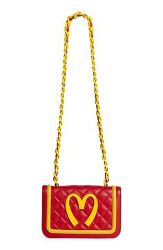 'fast food' quilted leather shoulder bag, moschino cheap & chic