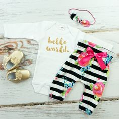 Baby Newborn take home outfit   Black and White Stripe with Fuchsia Floral  Hello World Outfit   High Waisted Pants and Knotted Headband by OliveLovesApple on Etsy https://www.etsy.com/listing/273871582/baby-newborn-take-home-outfit-black-and