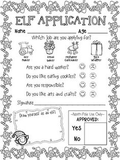 Elf Application and Elf ID Cards- Holiday Elf Fun!