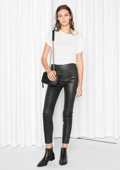 32cfa9035df5  amp  Other Stories image 2 of Skinny Shiny Trousers in Black Leather  Leggings