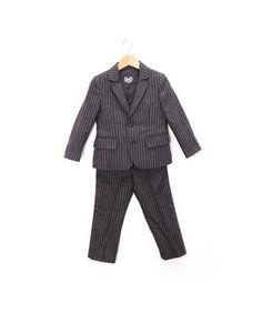 D & G JUNIOR Toddler Boys' Wool Pinstripe 2 Piece Set, Kids' Suit, Made in Italy
