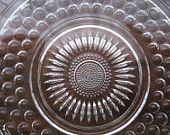 Vintage  Depression Glass Bubble Hobnob Tray or Cake Platter Plate Server..etsy