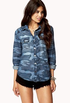 $24.80 | Chambray Camo Shirt | FOREVER21 - 2058357522
