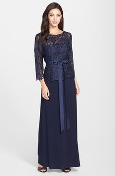 Patra+'Venice'+Lace+&+Jersey+Mock+Two-Piece+Gown+available+at+#Nordstrom