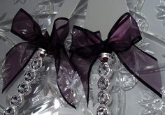 High Fashion Crystal Handle Wedding Cake Server Set with Eggplant Aubergine Organza Bows, Custom Ribbon Colors available in Organza and Satin