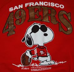 f3f3db78b VINTAGE MADE USA SAN FRANCISCO 4ERS SNOOPY RED JUMPER SWEATER FOOTBALL TEAM  NFL