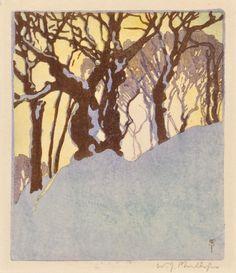 Walter J. Phillips, Snow Bank, Woodcut (Canada 1923)