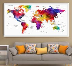 World map push pin Wall Art Print Poster LARGE by FineArtCenter