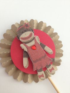 Girl Sock Monkey Cupcake Toppers by InkCouture on Etsy, $8.00