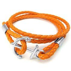 Men Women Braided Leather Bracelet, Anchor Bangle, Orange Silver - InnovatoDesign