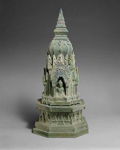 Buddhist Shrine Angkor period, 13th century Thailand or Cambodia Bronze