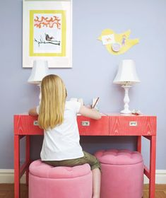 When space is tight, look for multifunctional pieces: The desk has a pop-up mirror, so it can serve as a vanity; the ottomans' tops lift to provide extra storage.     via Real Simple magazine