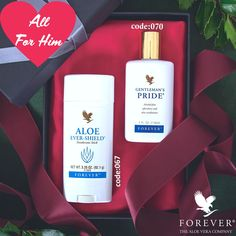 Does he to look and smell good? This will be the ideal gift for him,the Forever Aloe Ever-Shield and Gentleman's Pride will give him a soothing, cooling sensation and a pleasant scent Forever Living Aloe Vera, Forever Aloe, Forever Business, Marketing Opportunities, Valentines Gifts For Him, Ever And Ever, Forever Living Products, Smell Good, Clear Skin