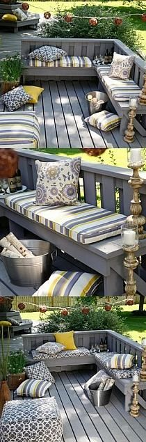 Loving these built-in seating options. If your deck is smaller in size, save space with built-in seating but go ahead and jazz it up with colorful cushions, string lights or candles. Garden Seating, Outdoor Seating, Outdoor Rooms, Outdoor Living, Outdoor Decor, Patio Seating, Patio Bench, Seating Areas, Bench Cushions