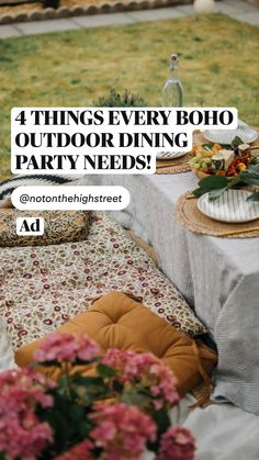 Diy Projects On A Budget, Outdoor Projects, Home Decor Inspiration, Garden Inspiration, Outdoor Dining, Outdoor Spaces, Outdoor Floor Cushions, Party Needs, Rustic Table