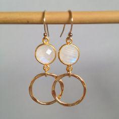 Small gold hoops with bezel set moonstones moonstone by AinaKai