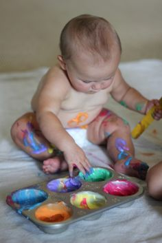Play At Home Mom LLC: Where is the cream? - Infant play. Use coloured whip cream to paint on baby and for them to paint on themselves. The site also suggested using yogurt or infant cereal instead.