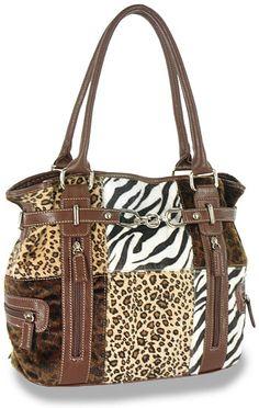 Plush Animal Print Patchwork Handbag  http://www.fashiontreasures.com/item.php?ItemID=AMS-2247-BR=Handbags