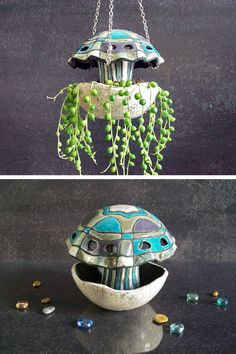 jellyfish hanging plant pot - planter for climbing plants - beach home decor - raku pottery planter - pinned by pin4etsy.com