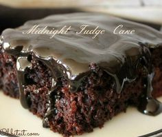 ❤️?MIDNIGHT FUDGE CAKE ❤️? Midnight Fudge Cake is intensely deep, dark fudgy Brownie Batter swirled into the rich Chocolate Cake that makes it a super moist, and dense fudge-like cake. The best c…