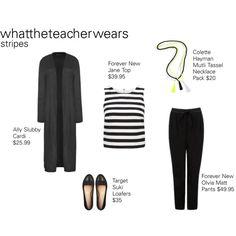 Stripes #1 by whattheteacherwears on Polyvore featuring Forever New and whattheteacherwears