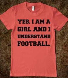 Football- totally need this shirt, maybe in orange and blue or teal and black??!