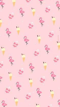 アイスクリーム&フラミンゴ&ビキニiPhone壁紙 iPhone 6/6S 7 8 PLUS X SE Wallpaper Background