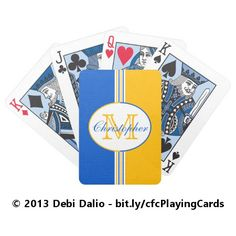 This colorful deck of playing cards features blue, white, and yellow stripes topped with an oval containing large and small customizable text. http://www.zazzle.com/blue_and_golden_yellow_stripes_monogram_bicycle_playing_cards-256850906334671815?rf=238083504576446517&tc=20170126_pint_SSOZ #toys #games #monogram #StudioDalio #Zazzle