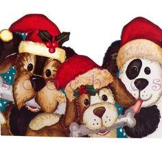 CH1 Dogs Puppies Wearing Santa Hats Christmas New Years Season Greeting Card   eBay