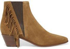 Saint Laurent - Fringed Suede Ankle Boots - Tan