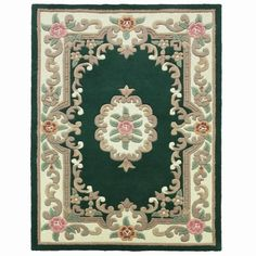 Lotus Premium Aubusson Rugs in Green are available to order from Capital Rugs UK. A super thick, super soft and heavyweight wool Oriental rug available in multiple sizes and all with FREE Delivery to your front door! Hallway Carpet Runners, Carpet Stairs, Aubusson Rugs, Rug Store, Cool Rugs, Rugs Online, Wool Area Rugs, Rugs On Carpet, Carpets