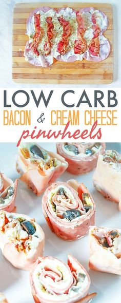 Low Carb Pinwheels with Bacon and Cream Cheese - this quick and easy keto recipe. Low Carb Pinwheels with Bacon and Cream Cheese - this quick and easy keto Receitas Crockpot, Tasty Vegetarian, Vegan Keto, Cream Cheese Pinwheels, Bacon Cream Cheese Bombs, Ham Pinwheels, Cheese Spread, Comida Keto, Eat Better