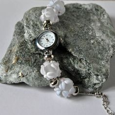 Bracelet watch with large hole lampwork beads in transparent etched Murano glass  with flower decor , wristwatch, woman's watch, gift ideas  #fromglasswithlove #lampworkbeads #lampwork #glassjewelry #europeanbracelet #largholebeads #wristwatch #beadedwatch #handmade