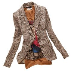Material:Cotton,Polyester Sleeve Length:Full Pattern Type:Plaid Closure Type:Single Button Clothing Length:Regular Collar:Notched Package Included:1 x Women Blazer Please allow 2-3 weeks for the produ
